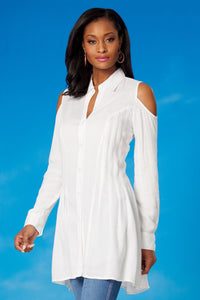 Blouses Seamed Cold Shoulder Blouse-Tall