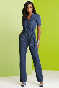 Jumpsuits Short Sleeve Denim Jumpsuit-Tall