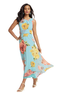 Georgette Gathered Waist Maxi Dress - Misses