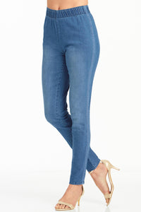 Denim Lace Inset Pull On Skinny Jean-Plus