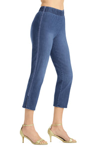 Denim Lace Inset Pull On Capri - Misses