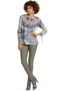 Misses M Knt Tie Dye Knit With Ruched Sleeves