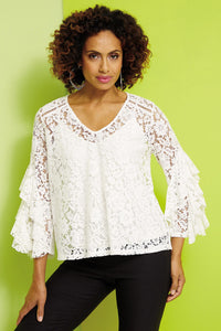 Misses M Bls Lace Tiered Sleeve Blouse