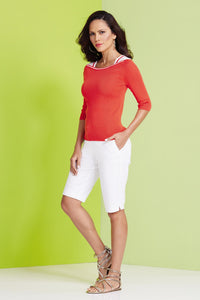 3/4 Sleeve Boatneck Sweater - Misses