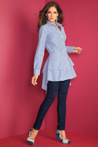Tiered Ruffle Tunid Blouse - Misses