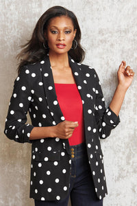 Misses M Blz Open Ruched Sleeve Blazer