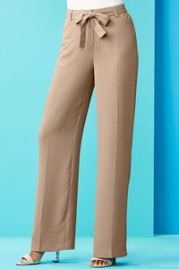 Crepe Self Belt Front Seam Straight Leg Pant - Misses