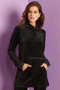 Velour Cowl Neck Top - Misses