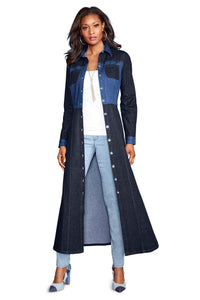 Patched Denim Duster Dress - Misses