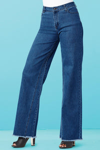 Denim New Wide Leg Inverted Seam Denim Jean - Misses