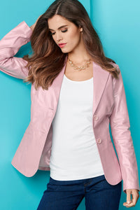 Genuine Leather Shaped Blazer - Misses