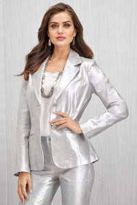 Genuine Leather Shaped Blazer - Plus