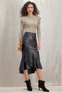 Ruffle Front Faux Leather Skirt - Petite
