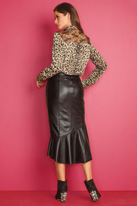 Ruffle Front Faux Leather Skirt - Tall