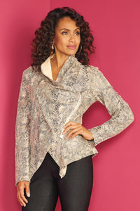 Leather Faux Snake Print Jacket - Misses