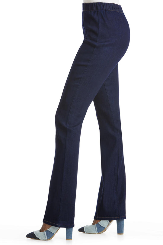 Denim Pull-On Seamed Bootcut Jeans
