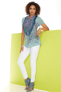Knit T-Shirt With Fringe Scarf - Misses