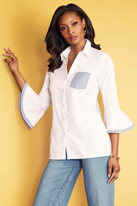 Striped Flounce Sleeve Pocket Shirt - Misses