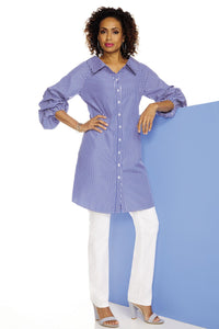 Ruched Sleeve Portrait Collar Striped Tunic - Misses