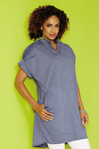 Chambray Tunic Blouse - Misses