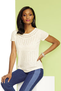 Pointelle Sweater With Crochet Neckline - Misses