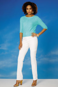 3/4 Sleeve Subtle Rib Sweater - Misses