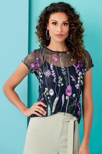 Embroidered Short Sleeve Mesh Knit Top - Misses
