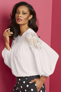 Lace Shoulder Blouse - Misses