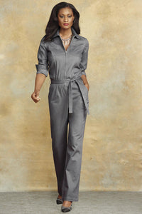 Jumpsuits Twill Zip Jumpsuit-Plus