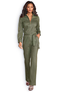 Jumpsuits Twill Zip Jumpsuit-Tall