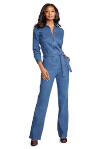M Drs Denim Front Zip Jumpsuit - Misses