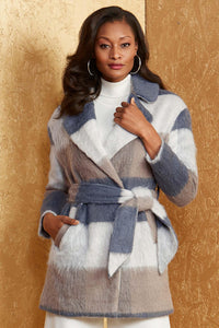 Out Plaid Wrap Coat - Misses