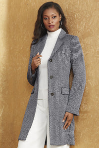 Single Breasted Wool Blend Coat - Misses