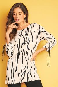 Misses M Bls Ruched Sleeve Blouse