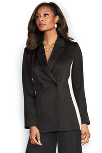 Black/White Panel Double Breasted Blazer - Misses