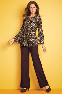 Front Ruched Animal Print Knit Top - Misses