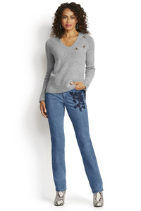 Embroidered Straight Leg Jean - Misses