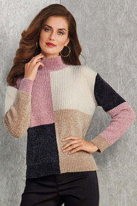 Misses M Swt Color Block Chenille Sweater