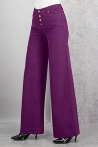 Button Fly Twill Wide Leg Pant - Petite