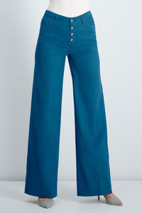 Button Fly Twill Wide Leg Pant - Misses