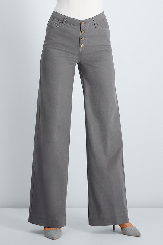 Button Fly Twill Wide Leg Pants