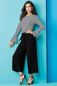 Crepe Self Belt Cropped Pant - Tall