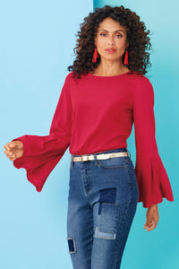 Misses M Bls Pleated Sleeve Blouse