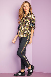 Misses M Act Camo Button Down Top