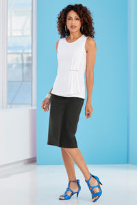 Misses Skt New Linen Back Slit Skirt
