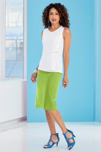 New Linen Back Slit Skirt - Petite