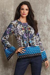 Misses M Knt Border Print Knit Top With Necklace