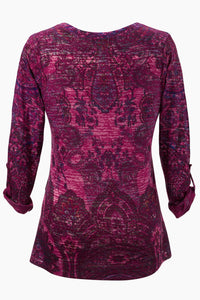Knit Paisley V-Neck Tunic - Misses