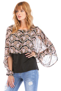 Misses M Bls Long Sleeve Multi Scoopneck Blouse