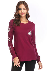 Knit Long Sleeve Holiday Graphic Tee - Misses
